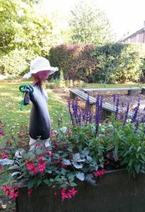 The library garden's scarecrow
