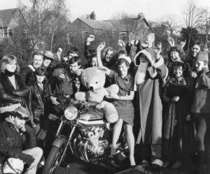 Myra with the bikers who'd visit the hospital on Christmas Day